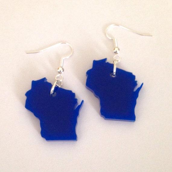 Wisconsin Earrings in Blue, US State Jewelry, Acrylic Jewelry, Wisconsin Shape