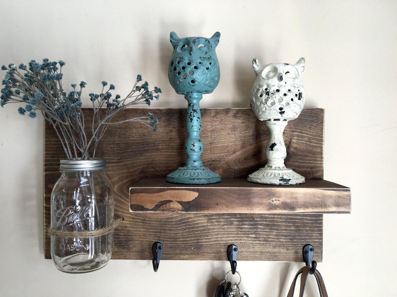 entryway shelf key holder wall vase shelf with hooks. Black Bedroom Furniture Sets. Home Design Ideas