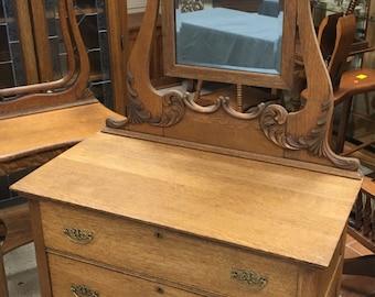 Beautiful Antique Oak Dresser 3 Drawers Princess Mirror 19d36w34h73h Shipping is Not Free