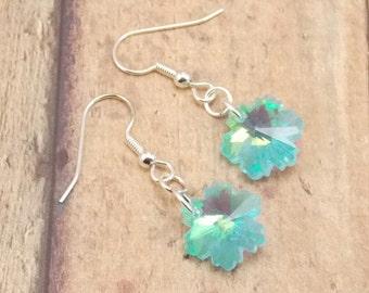 Earrings - Crystal Snowflakes - Light Blue with Aurora Borealis