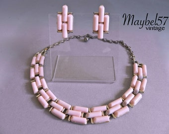 Vintage CORO 50s Pink Necklace and Earring set , Pale Pink 1950s Thermoset Demi Parure