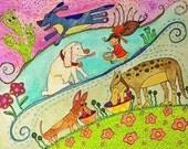 Little Girl Feeding Pups Pop Art Happyart Painting
