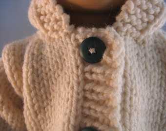"American Girl Doll Clothes Cream Hooded Sweater Hand Knit fits doll such as 18"" American Girl"