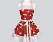 Ruffled Retro Apron - Hot Chocolate and Cocoa Winter Holiday Apron Ideal Gift to Personalize or Monogram