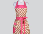 Full Bib Womens Apron . Cute Vintage Apron Heart Shaped Pink Flowers on Lime Full Kitchen Apron Personalize or Monogram