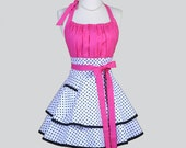 Flirty Chic Apron , Hot Pink and White and Black Dots Two Layer Skirt Cute Flirty Sexy Retro Womens Apron