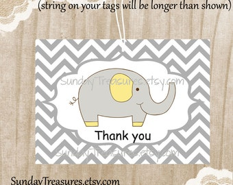 Sets of 6 / Elephant Thank You Favor Bag Gift Tags Label / Grey Chevron Yellow / Baby Shower Birthday / Boy Girl / 3 Day Ship (ref-ts)