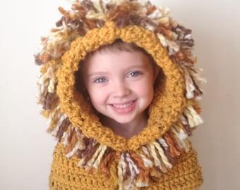 Lion Hat - Lion Hoodie - Lion Cowl - Animal Hat - Hooded Scarf - Crochet Hoodie - Chunky Crochet Hat - Animal Scarf