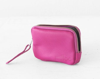 Zipper pouch in hot pink leather, coin purse zipper phone case money bag credit card zip purse - The Myrto Zipper pouch