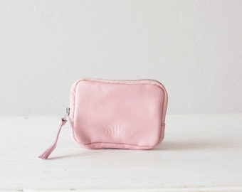 Zipper phone wallet in baby pink leather, coin purse pouch phone case money bag zipper  - The Myrto Zipper pouch