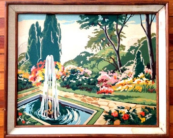 "Vintage Craftint Paint by Number Painting Fountain Garden Framed 16"" x 20"""