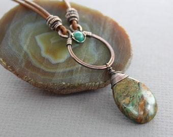 Copper with leather necklace with earthy turquoise with hints of green and brown colors agate with turquoise accents - Leather necklace