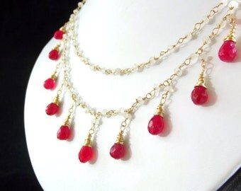 Raspberry Chalcedony and Moonstone Gold Fill Necklace-AdoniaJewelry