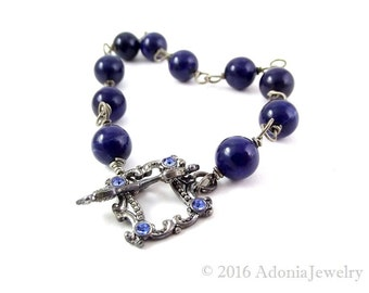 Lapis Lazuli Bracelet in Oxidized Sterling Silver - AdoniaJewelry