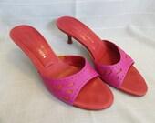 Vintage Retro Shoes Heels - Donald J Pliner - Size 9 M - Pink & Orange Peep Toe Mule - 2 inch heel