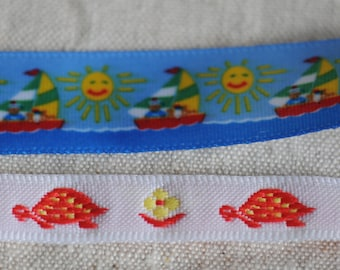 cute turtle sunshine kids ribbon trim lot, vintage juvenile red blue