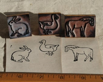 vintage animal rubber stamps, horse, duck, bunny rabbit, farm, school stamps