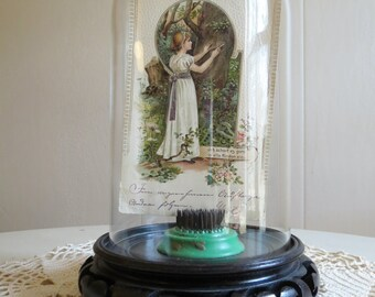 Vintage Glass Display Cloche and Wooden Base
