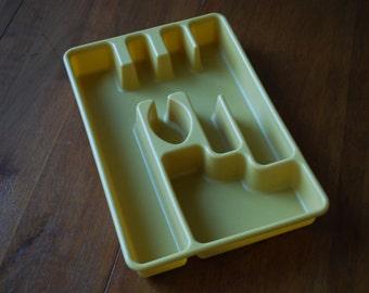 Vintage Harvest Gold Silverware Caddy/ Cutlery Organizer - Retro -