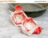 SALE SALE SALE Shoe Clips Flowers in ivory coral --- Bridal Flower Shoe Clips --- Flowergirl shoe clips --- tagt rdtt