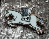 Pegasus/Flying Horse Brooch Wooden Lasercut