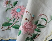 c1920s Chinese Hand Embroidered Silk Hanky Flowers Roses Daisies Scalloped Hem