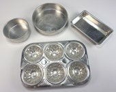 Kids Baking Pans Set with Muffin Tin and Strainer, Play Dishes, Children's Pretend, Doll Display