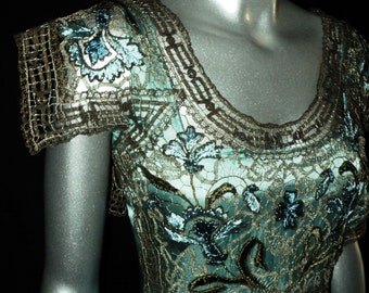 Antique 1920's Pannier Gown Teal with Edwardian Metallic Embroidery Bodice Wearable Party Dress Historical Period Art Deco