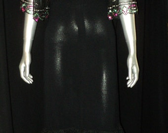 1930's Black Crepe Ruffled Dress with Sequin and Beaded Tulle Sleeves Layered Lace Ruffle Bottom with Sequin Evening Wear