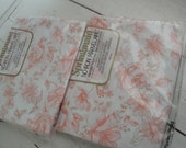 Vintage Full Flat Sheet Pink White Floral New Old Stock Set of 2