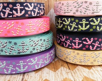 7/8 Anchor Ribbon, Chevron Ribbon, Chevron Anchor, Beach Ribbon, Whale Ribbon, Boat Ribbon, Ribbon by the Yard