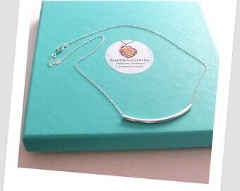 Curved Bar Necklace/Bar Necklace/ Sterling Bar necklace