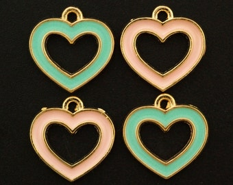 SALE - 4 Pink My Heart Charms - 14mm Handmade Jump Rings Included - 100% Guarantee