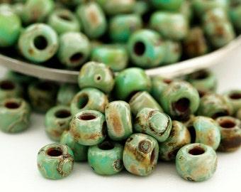 12 grams Turquoise Blue Picasso Miyuki 6/0 Seed Beads or Beads plus Jump Rings - 100% Guarantee