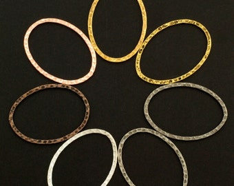 7 Hammered Oval Components - 40mm X 30mm - 7 Finishes - 100% Guarantee