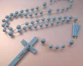 Vintage Child's Rosary Blue Plastic Small Size Costume Jewelry Jewellery