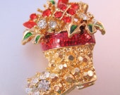 Vintage Christmas Stocking Boot Brooch Pin Enamel Rhinestones Gold Plated Novelty Jewelry Jewellery