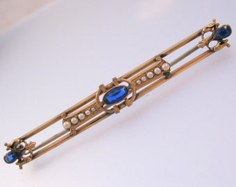 Edwardian Seed Pearl & Sapphire Gold Filled Bar Pin Brooch Antique Jewelry Jewellery