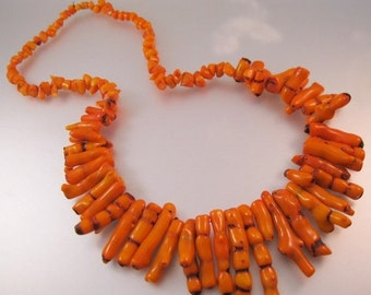 "15% OFF SALE Vintage Graduated Orange Branch Coral Necklace 25""  Jewelry Jewellery"