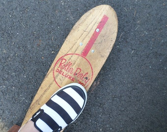 Vintage Roller Derby Skateboard, Deluxe #20 Skateboard, Roller Derby Wood Skateboard, 22 inch Skateboard, 1960s Wooden Skateboard