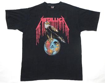 Metallica Vintage 90's Black Concert T Shirt 1994 Pushead Eagle Band Metal Tour