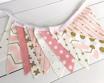 Bunting Banner,Girl Nursery Decor,Birthday Decoration,Gold Nursery,Home Decor,Blush Pink,Gold,Aztec Nursery,Tribal Nursery,Arrows,Light Pink