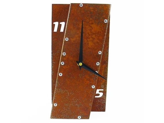 Leaning I, Medium Desk Clock, Rusted Desk Clock, rustic desk clock, unique desk clock, industrial clock, modern desk clock