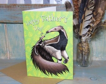 Anteaters Illustration 'Happy Father's Day' Greeting Card - 280gsm White Card 177 x 127mm Blank Inside with Brown Recycled Envelope
