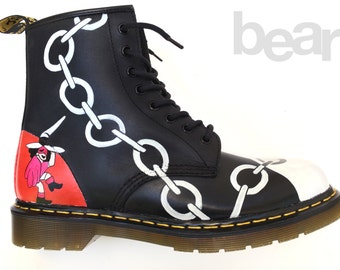 Custom Doc Martens Boots Hand Painted - Black Country