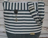 Camera Tote bag in Navy blue Stockholm Stripe Grey & waxed canvas by Darby mack and made in America