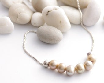 Romantic Pearls Strung On Silver Necklace