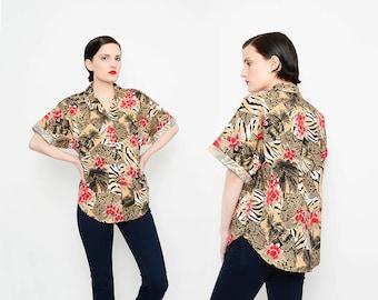 80s Hawaiian Shirt Tropical Floral Novelty Animal Print PALM TREE Short Sleeve Button Up Shirt Tan Black Red Small Medium S M