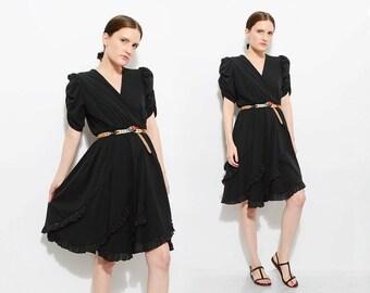 Vintage 70s Black V Neck Dress Metallic Ruffled Full Skirt 1970s Disco Party Midi Dress Puff Sleeves Small XS S
