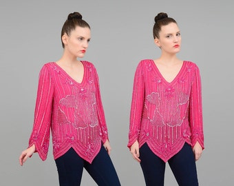 Vintage 80s Silk Pink Beaded Top Deep V Neck Scalloped Hem Art Deco Blouse Party Cocktail Shirt Magenta Silver Small Medium S M